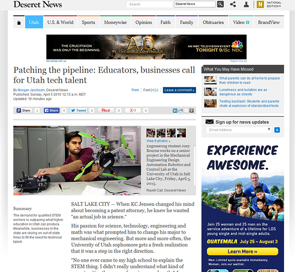 Photos from DARC Lab featured in an article in Deseret News.